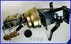 90 Degree Under Dash Power Brake Pedal 7 Dual Booster Master Cylinder Disc Drum
