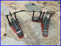 DW 5000 Double Bass Drum Pedal 5002 Vintage Offset Beater Type Has Rust