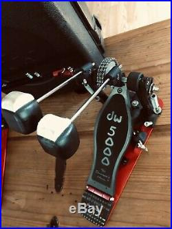 DW 5000 Drum Workshop Double Bass Kick Drum Pedals Dual Chain Drive With Case
