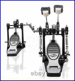 Deluxe Double Kick Drum Pedal for Bass Drum by GRIFFIN Twin Set Foot Pedal