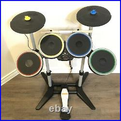 PS3 Harmonix Rock Band 2 With Double Cymbals Sticks Foot Pedal Wireless Drum Set