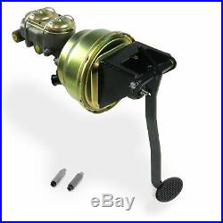 Universal FW 8 Dual Brake Pedal kit Drum/DrumSm Oval Blk Pad street rod retro