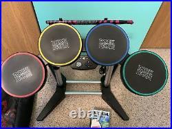 Xbox 360 Rock Band Bundle Drums, Guitar, Kick Pedal, Double Bass Adapter & Bag