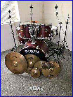 Yamaha stage custom 5 piece drum set Zildjian Cymbals PDP Double Bass Pedal
